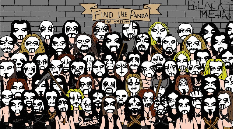 Encontre o panda no meio dos rockeiros de black metal