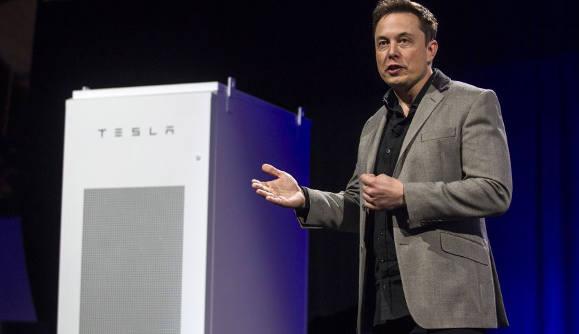 Elon Musk, CEO of Tesla Motors Inc., unveils the company's newest product, Powerpack in Hawthorne, Calif., Thursday, April 30, 2015.  (AP Photo/Ringo H.W. Chiu)