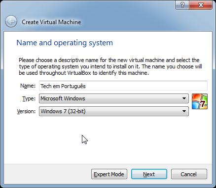 Criar máquina virtual