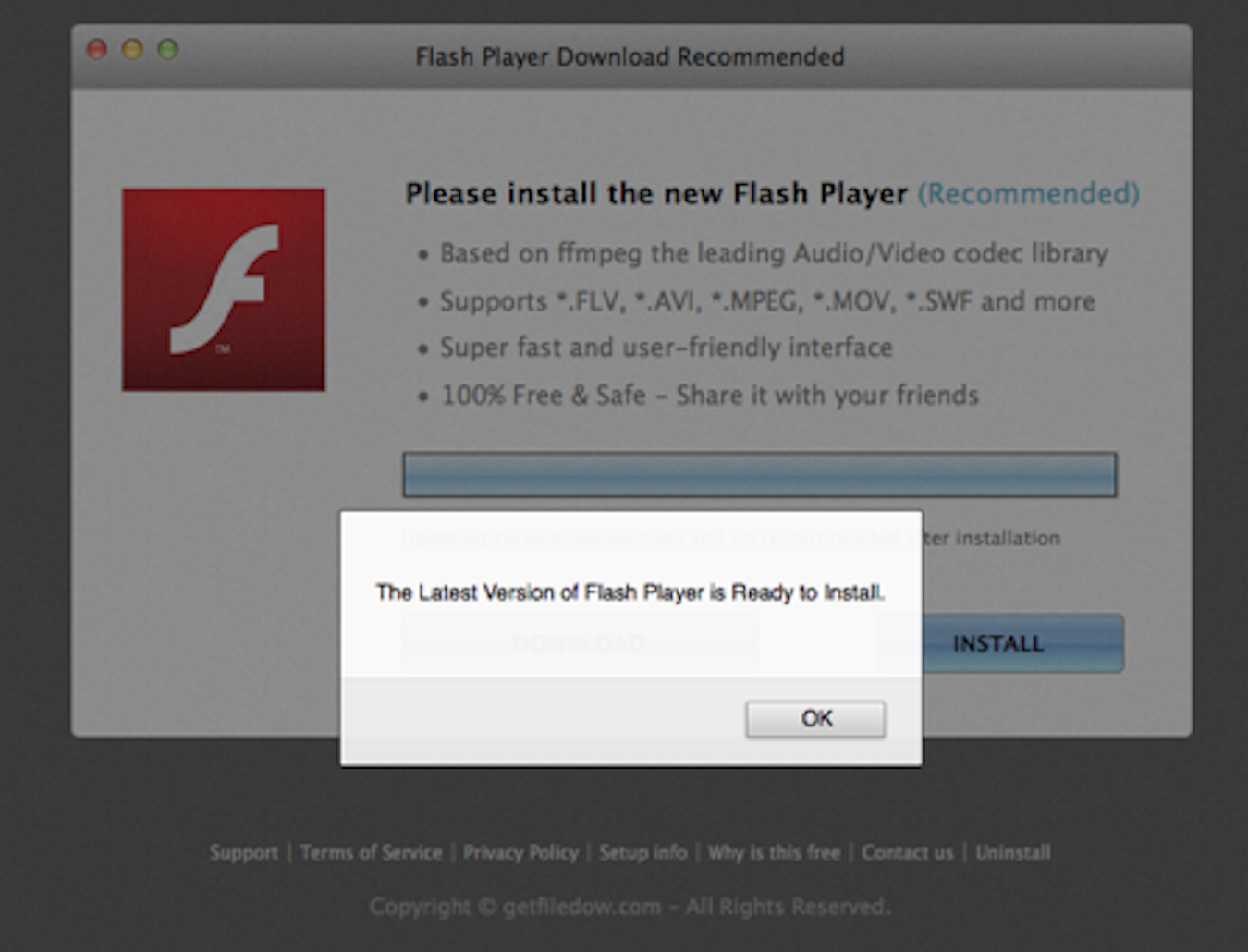 Actualização falsa do Adobe Flash