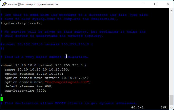 Configuração do Servidor DHCP - Pool de IP's