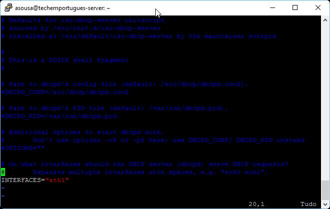 Configuração do Servidor DHCP - Porta de escuta