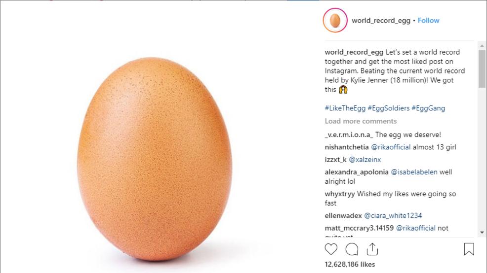 Instagram: Um ovo chegou, para ser a fotografia com mais gostos
